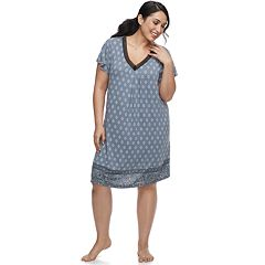 Plus Size Croft & Barrow® Printed V-Neck Nightgown