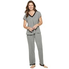 Women's Croft & Barrow® Printed Lace-Trim Tee & Pants Pajama Set
