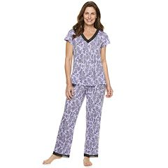 Women s Croft   Barrow® Printed Lace-Trim Sleep Tee   Pants Pajama Set 757ec4d0f