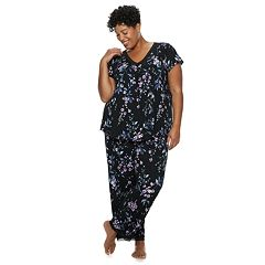 0397f8c011 Plus Size Croft   Barrow® Printed Lace-Trim Tee   Pants Pajama Set. Gray  Heather Black ...