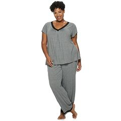 Plus Size Croft & Barrow® Printed Lace-Trim Tee & Pants Pajama Set