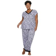 958bbc05b8a Plus Size Croft   Barrow® Printed Lace-Trim Tee   Pants Pajama Set