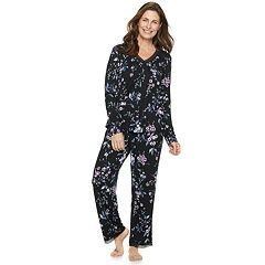 Women's Croft & Barrow® Lace Trim Tee & Pants Pajama Set