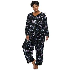 Plus Size Croft & Barrow® Lace Trim Tee & Pants Pajama Set