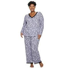 Plus Size Croft & Barrow® Lace Trim Tee & Pants Pajama Set