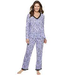 Petite Croft & Barrow® Lace Trim Tee & Pants Pajama Set