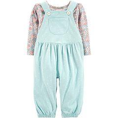 Baby Girl Carter's Floral Tee & Polka-Dot Overalls Set
