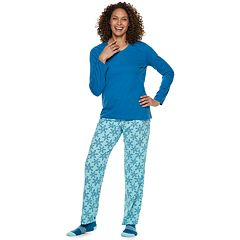 Women's Croft & Barrow® Tee, Pants & Socks Pajama Set