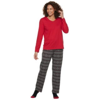 Petite Croft & Barrow® Tee, Pants & Socks Pajama Set