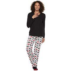 Petite Croft & Barrow® Tee, Pants & Socks Pajama Set
