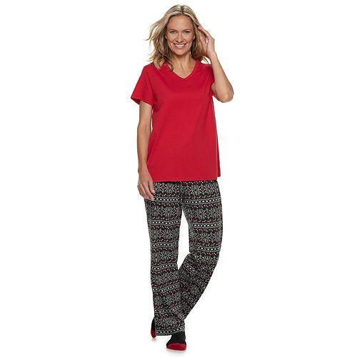 Women's Croft & Barrow® 3-piece Tee, Pants & Socks Pajama Set
