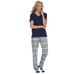 Women's Croft & Barrow® 3-piece Sleep Tee, Pants & Socks Pajama Set