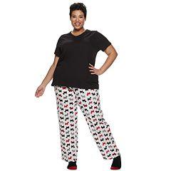 Plus Size Croft & Barrow® 3-piece Tee, Pants & Socks Pajama Set