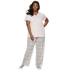Plus Size Croft & Barrow® 3-piece Tee, Pants & Socks Pajama Set