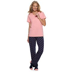 Petite Croft & Barrow® 3-piece Tee, Pants & Socks Pajama Set