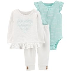 Baby Girl Carter's Words Bodysuit, Ruffled Slubbed Top & Button-Hem Pants Set