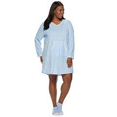 Plus Size Croft & Barrow® Printed Sleepshirt & Sock Pajama Set