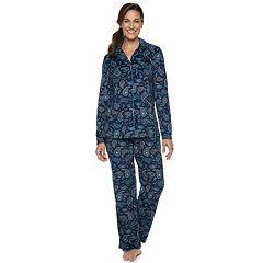 Petite Croft & Barrow® Velour Sleep Shirt & Pants Pajama Set