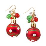 Two-Tone Red Shaky Ornament Drop Earrings
