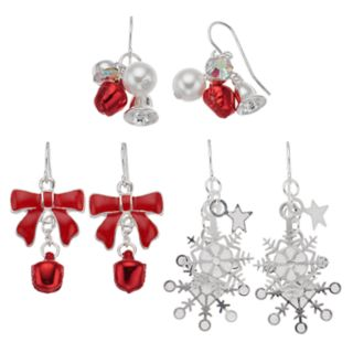 Bell & Snowflake Holiday Drop Earring Set