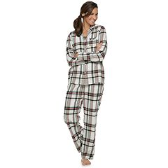 Women's Croft & Barrow® Flannel Shirt & Pants Pajama Set