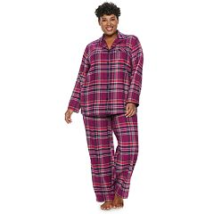 Plus Size Croft & Barrow® Flannel Shirt & Pants Pajama Set