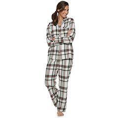 Petite Croft & Barrow® Flannel Shirt & Pants Pajama Set