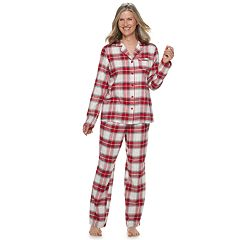 Petite Croft & Barrow® Flannel Shirt & Pants Pajama Set