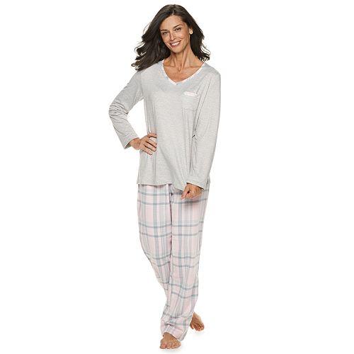 Women's Croft & Barrow® Tee & Flannel Pants Pajama Set