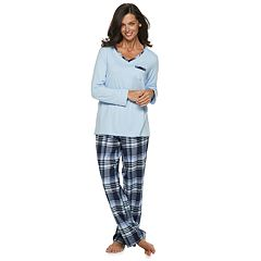 Women's Croft & Barrow® Tee & Flannel Pants Pajama Set