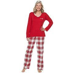Women's Croft & Barrow® Sleep Tee & Flannel Pants Pajama Set