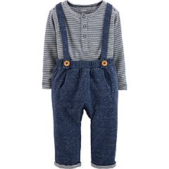 Baby Boy Carter's Striped Henley Bodysuit & Nep Overalls Set