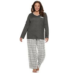 Plus Size Croft & Barrow® Tee & Flannel Pants Pajama Set