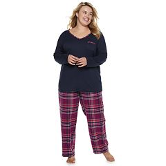 Plus Size Croft & Barrow® Tee & Flannel Pants Pajama Set