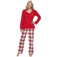 Petite Croft & Barrow® Tee & Flannel Pants Pajama Set