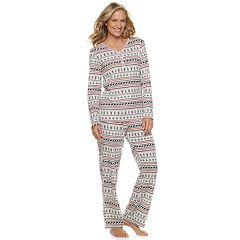 Women's Croft & Barrow® Textured Henley Pajama Set
