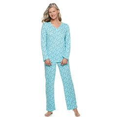 Women's Croft & Barrow® Textured Henley Pajama Set