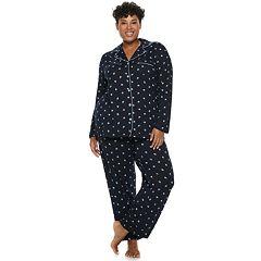 Plus Size Croft & Barrow® Notch Collar Shirt & Pants Pajama Set