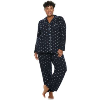 Plus Size Croft & Barrow® Notch Collar Shirt & Pants Pajama Set