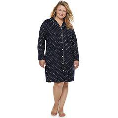 Plus Size Croft & Barrow® Notch Collar Sleepshirt