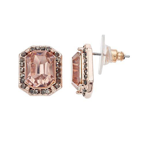 Simply Vera Vera Pink Cushion Halo Stud Earrings