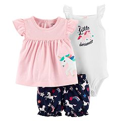 Baby Girl Carter's Unicorn Bodysuit, Tee & Shorts Set