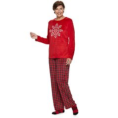Women's Croft & Barrow® Velour Top & Pants Pajama Set