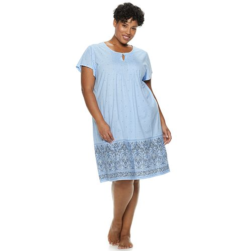 6e3ea7cd938 Plus Size Croft   Barrow Printed Pintuck Nightgown