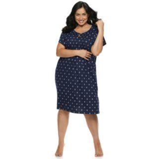 Plus Size Croft & Barrow Printed Pintuck Nightgown