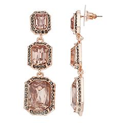 Simply Vera Vera Pink Cushion Halo Linear Drop Earrings