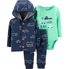 Baby Boy Carter's 'I'm Going Places' Graphic Bodysuit, Car Print Hooded Jacket & Pants Set