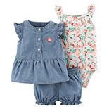 Baby Girl Carter's Floral Bodysuit, Embroidered Chambray Top & Shorts Set