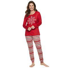 Women's Croft & Barrow® Holiday Graphic Tee & Joggers Pajama Set