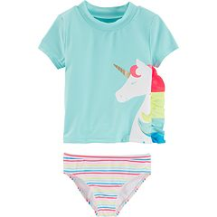 Baby Girl Carter's Unicorn Rashguard & Striped Bikini Bottoms Set